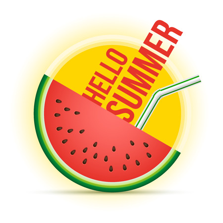 happy summer: Vector summer concept illustration. Sun and watermelon. Illustration