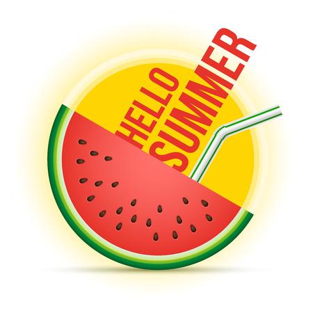 Vector zomer concept illustratie. Zon en watermeloen.