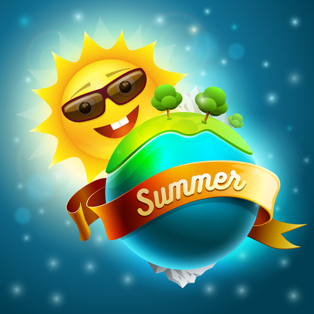 separately: Green world with sun. Summer nature concept vector illustration. Elements are layered separately in vector file.