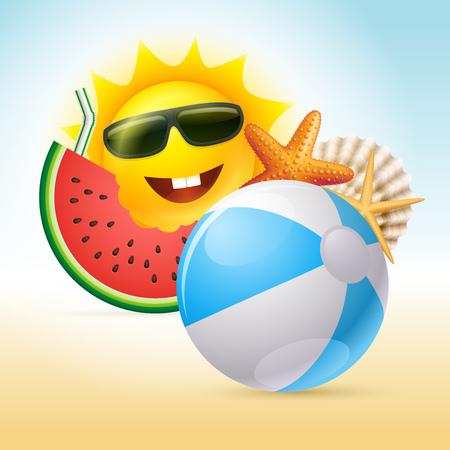 shell: Vector summer concept illustration. Cartoon sun character, watermelon, starfish, shell, beach ball and straw. Illustration