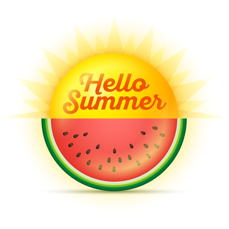 Vector summer concept illustration. Sun and watermelon. Hello summer.
