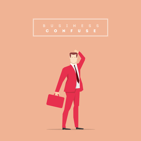 bemused: Businessman in red suit. Flat style illustration. Illustration