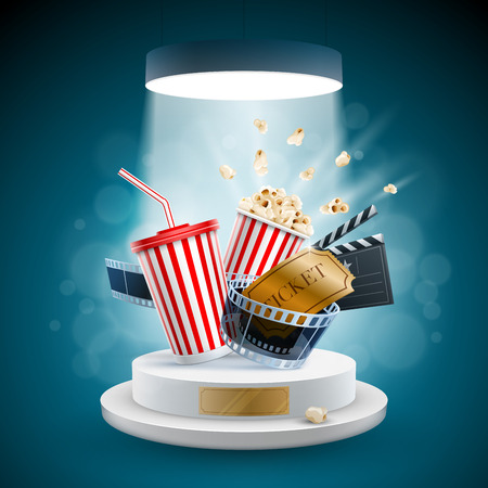 strip design: Popcorn box; disposable cup for beverages with straw, film strip, clapper board and ticket on the podium. Cinema Concept Design. Detailed vector illustration. Illustration