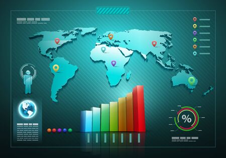 information design: Infographics set and Information graphics. 3d vector world map illustration and infographics design template.