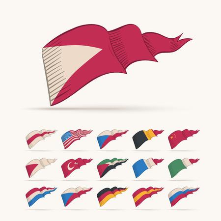turkish flag: Various vector national triangle flag set. Easy editable global retro colors.
