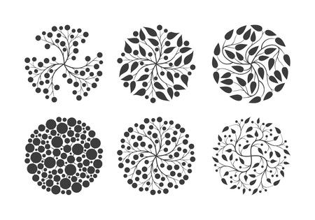 gently: Vector simple elegant round floral design set. Illustration