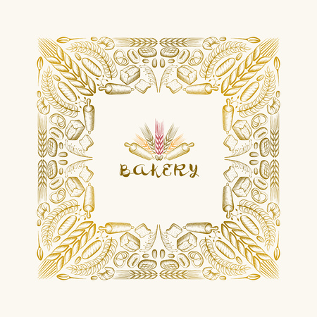 flour: Vector hand drawn frame. Border is made with bakery elements.