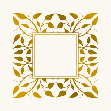 frame border: Vector hand drawn frame. Border is made with seamless pattern with leaves.
