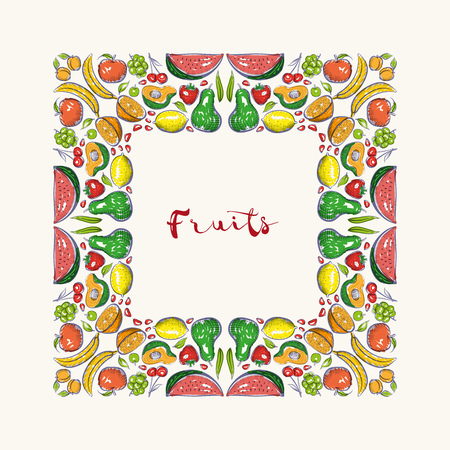 hand drawn frame: Vector hand drawn frame. Border is made with seamless pattern with fruits. Illustration