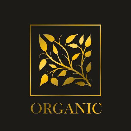 eleganz: Vector einfache runde Blumenmuster. Gold-Zweig und Blätter stilisieren in quadratischen Rahmen. Ideal für elegante Einladungen oder Naturkosmetik, rohe Lebensmittel usw.