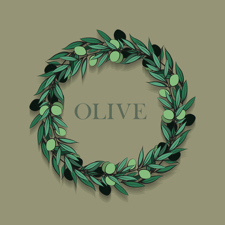 tree crown: frame with olive branch. Hand drawn circle frame illustration.