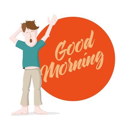 yawn: Yawning man giving morning message.