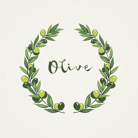 frame with olive branch. Hand drawn circle frame illustration.