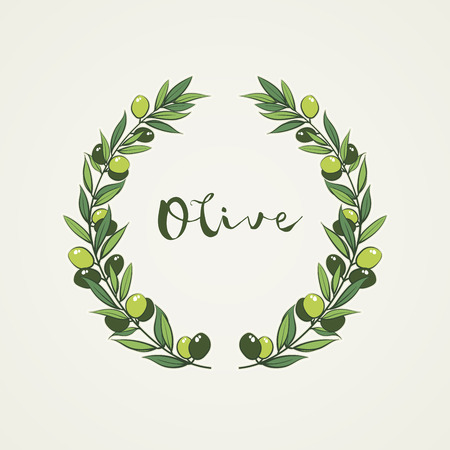 frame with olive branch. Hand drawn circle frame illustration.