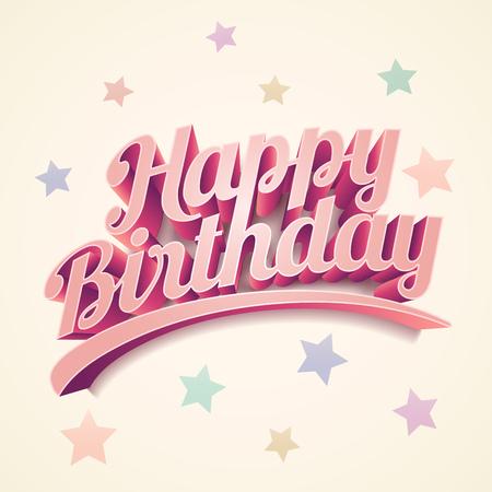 retro 3d Happy Birthday. Birthday card design.