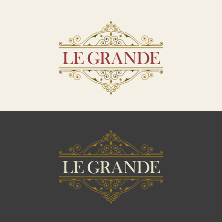 royal logo: Vector luxury elegant frame ornament line logo design. Monogram emblem template. Ideal for restaurant, hotel, jewelry, boutique, cafe, heraldic, fashion or royal sign. Illustration