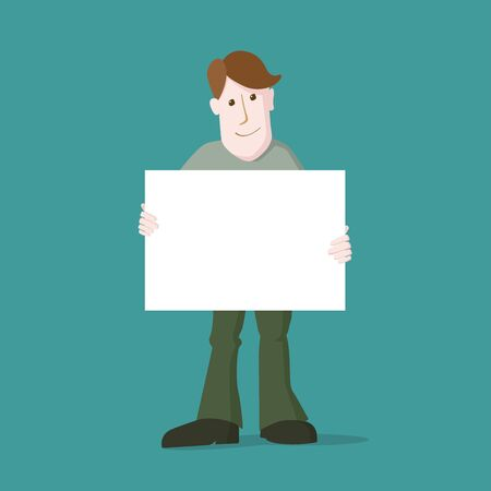 message board: Vector illustration of young casual man. Holding empty message board. Illustration