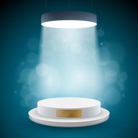 illuminated: Illuminated white round podium vector illustration. Illustration