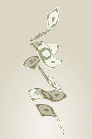dollaro: illustrazione vettoriale di cadere banconote volanti.