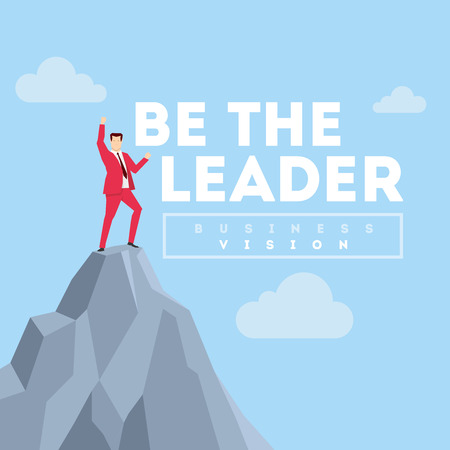 business leader: Be the Leader. Business concept illustration. Businessman in red suit.