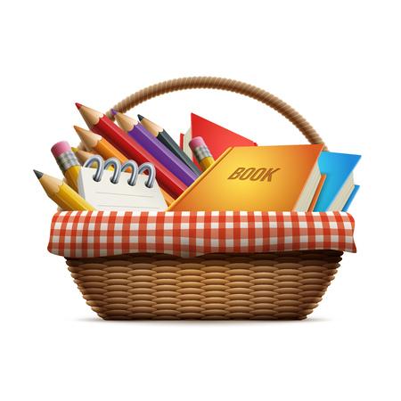 utiles escolares: útiles escolares en la cesta de picnic de mimbre. Ilustración detallada. Vectores