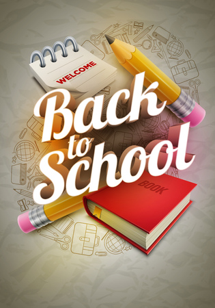 poster design for Back to school with high detailed illustrations. Wrinkled paper, school supplies icons red sharp wooden pencil, notepad, book and 3d Welcome Back to School text.