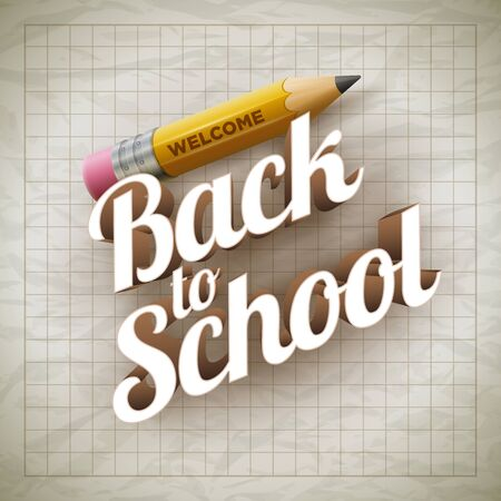 Welcome Back to School type and yellow pencil on wrinkled paper.