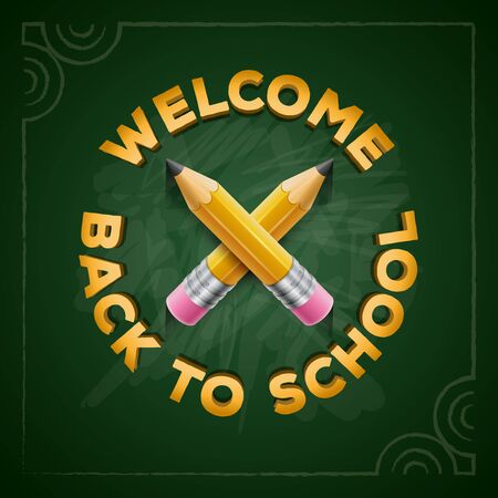 elementary schools: Welcome Back to School type and yellow pencils on green chalkboard.