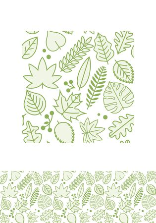 modern garden: seamless pattern design with various green line leaves. Illustration
