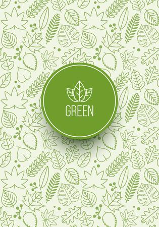 nahtlose Muster Design mit verschiedenen grünen Linie Blättern. Globale Farben. Ideal für die Cover-Design, Poster Design oder Textil-Designs.