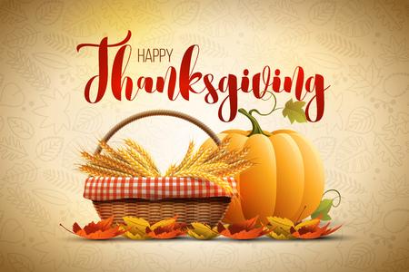 thanksgiving day symbol: autunno Happy Thanksgiving modello di progettazione del manifesto
