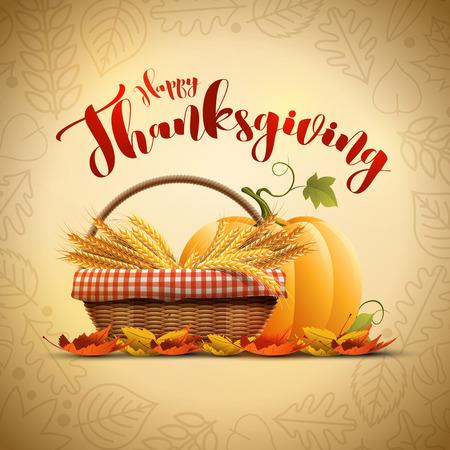 fruit basket: autumn Happy Thanksgiving poster design template Illustration