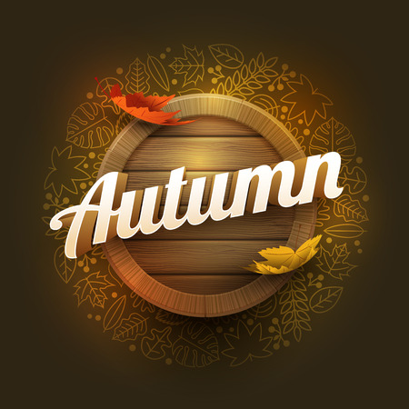 separately: Vector autumn poster design template. Elements are layered separately in vector file.