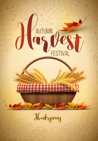 festival: Vector autumn harvest festival poster design template. Elements are layered separately in vector file. Illustration