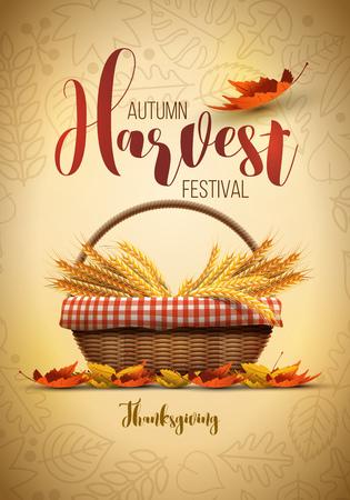 Vector festival de la cosecha de otoño plantilla de diseño del cartel. Los elementos se acodan por separado en archivo vectorial. Ilustración de vector