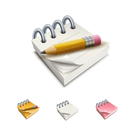 Vector notepad illustration icon set.