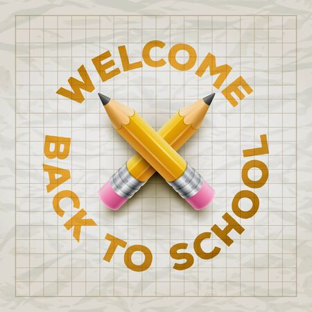 squared paper: Welcome Back to School type and yellow pencils on wrinkled squared paper. Vector illustration. Illustration