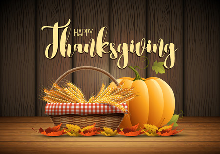 wicker: Vector autumn Happy Thanksgiving poster design template. Elements are layered separately in vector file.