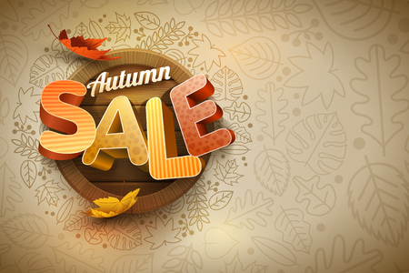 separately: Vector autumn sale poster design template. Elements are layered separately in vector file. Illustration
