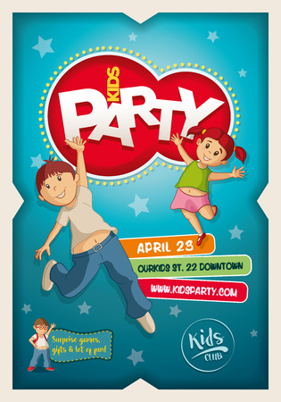 balloon background: Vector Kids Party poster design template. Boy and girl happy and jumping.