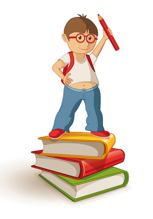 rucksack: Vector illustration of a school boy standing and holding a red pencil on the book stack.