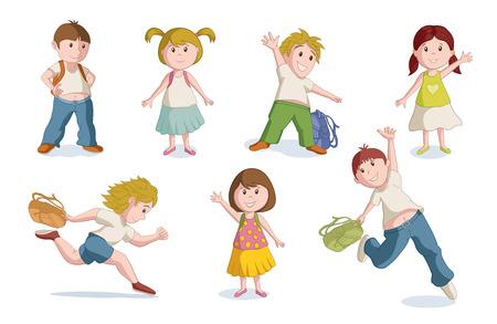 niños estudiando: Ilustración del vector de niños en edad escolar. de color CMYK global.