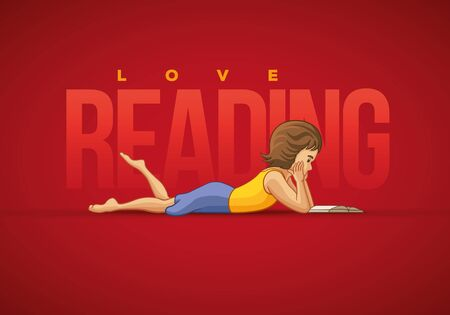 red and white: Girl lying down and reading book. Vector illustration and poster design template. Illustration
