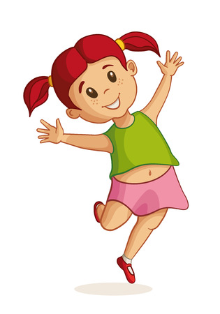 to laugh: Little happy girl jumping. Vector illustration.
