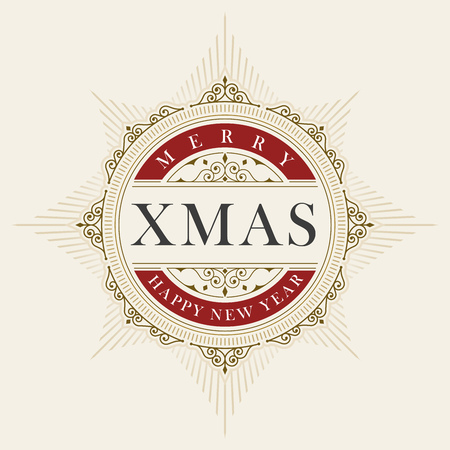 Vector luxury elegant Christmas and Happy New Year vector frame and emblem template.