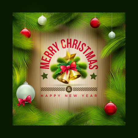 christmas objects: Vector christmas objects and message on wooden background. Elements are layered separately in vector file.