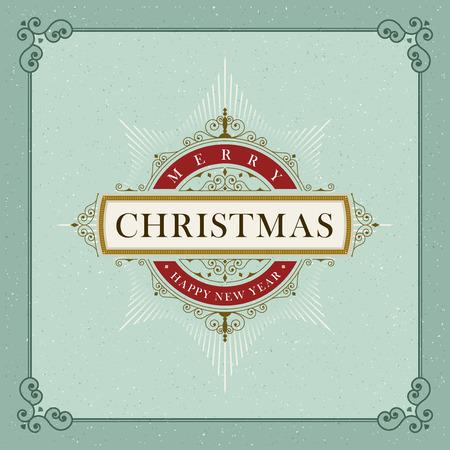 navidad elegante: Vector de lujo elegante de la Navidad y Feliz Año Nuevo marco de vectores y la plantilla emblema.