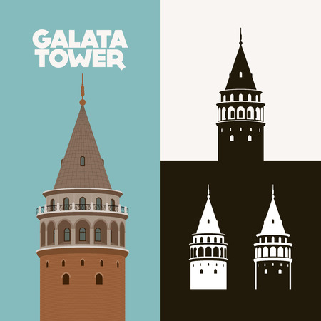 Vector illustration and silhouette drawing Galata Kulesi (Galata Tower), Istanbul, Turkey