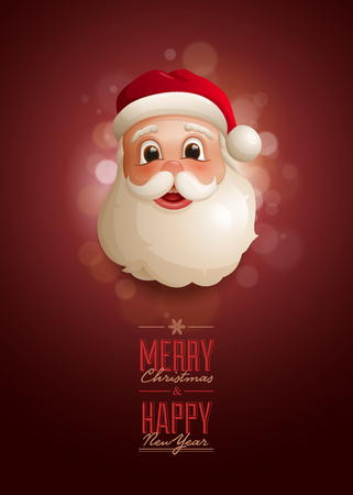 advert: Christmas advert design template with Santa Claus portrait illustration. Detailed vector illustration and high quality typographic design.
