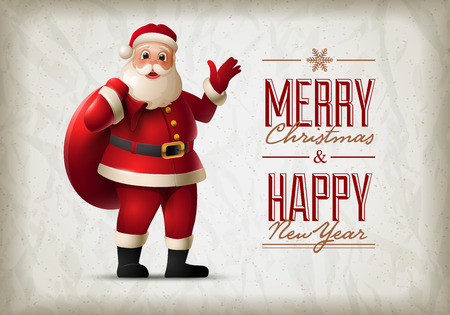 separately: Santa Claus standing and smiling. Christmas vector illustration. Elements are layered separately in vector file.